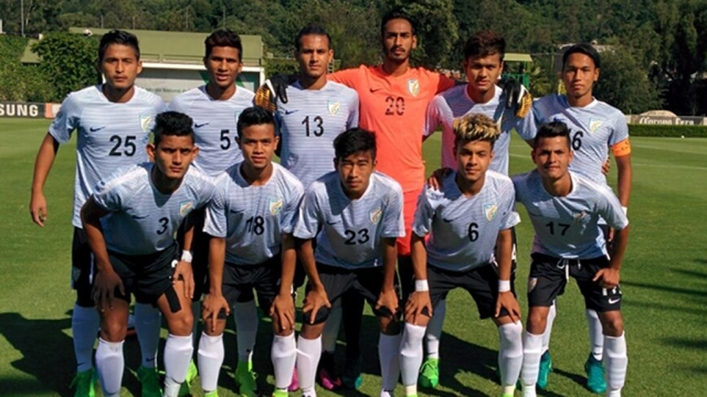 India U-17 players pose for a team photograph before the match