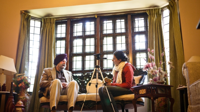 A file photo of Guneeta Singh Bhalla (right), the Executive Director of the 1947 Partition Archives, during an interview in Chandigarh in 2011
