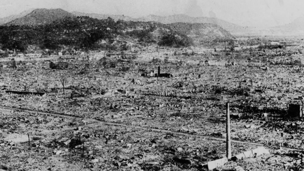 A file photo depicting annihilation caused by the atomic bomb in Hiroshima. The above spot is 0.8 km from the explosion centre