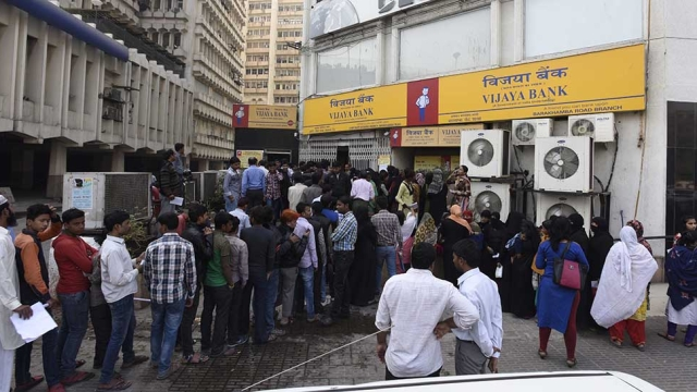 File photo of long queues in front of banks during demonetisation in November 2016