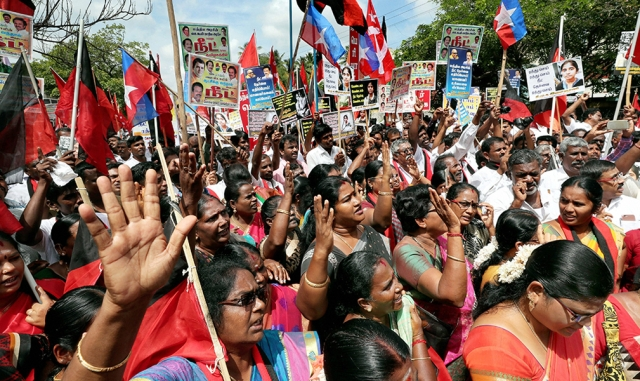 Members of DMK Party, Congress Party, Viduthalai Siruthai Katchi Party, CPI, CPIM, during a joint NEET protest in Coimbatore.