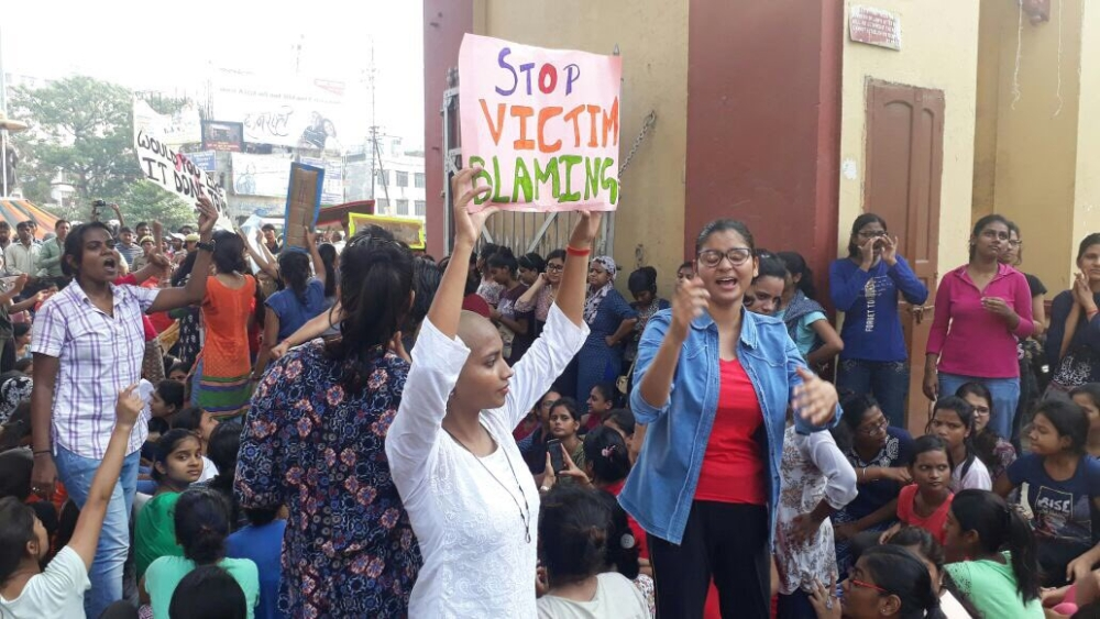BHU girls staging protest in unison against rising incidents of molestation on campus