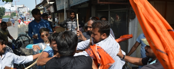 Supporters of BJP MLA Swami Yatishwaranand and workers of ABVP clash with each other at Haridwar on Saturday
