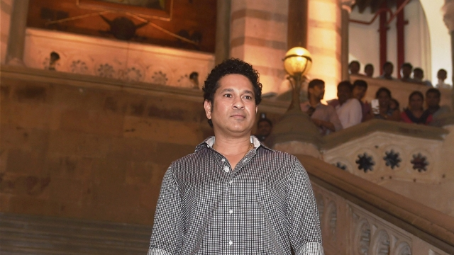 Cricketer Sachin Tendulkar at the launch of Apnalaya and Mumbai First initative supported by MCGGM 'Mission 24' at the BMC headquarters in Mumbai on Tuesday. Mission 24 is a 24 month long civic initiative aimed at bringing basic amenities to all people living in Mumbai's M-East ward.