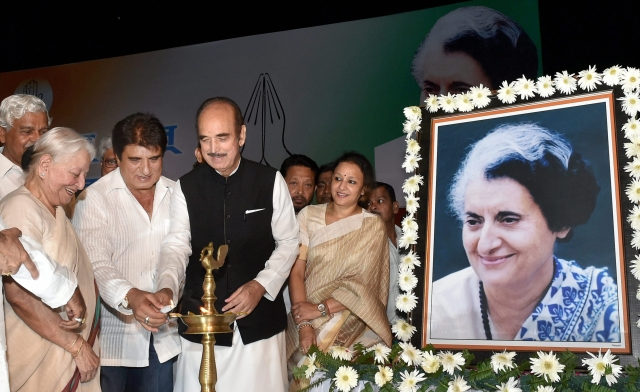 UP Congress chief Raj Babbar along with senior leaders Ghulam Nabi Azad and Mohsina Kidwai light a lamp at a programme organised as part of the birth centenary celebrations of  former Prime Minister Indira Gandhi, at Indira Gandhi Pratisthaan in Lucknow.
