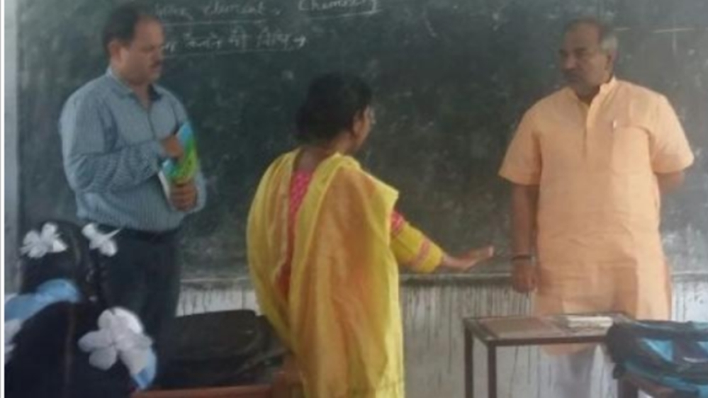 Uttarakhand School education Minister Arvind Pandey asking a female school teacher a question during his visit to a school in Dehradun district a fortnight ago
