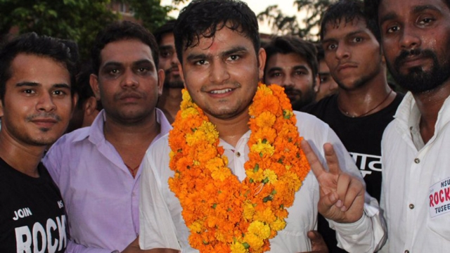 NSUI candidate Rocky Tuseed, who won the post of President in DUSU elections