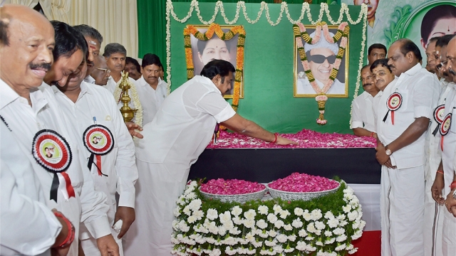 AIADMK senior leader and Chief Minister K Palaniswami paying floral tributes to late J Jayalalithaa and party founder MG Ramachandran at the party's General Council and Executive Committee Meeting in Chennai.