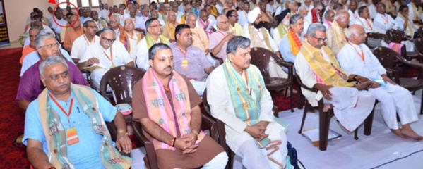 BJP President Amit Shah (circled) at the RSS Annual Coordination Meet in Mathura at weekend