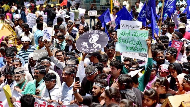 Writers, students and left wing supporters at a rally against the assassination of journalist Gauri Lankesh at central college ground in Bengaluru on Tuesday