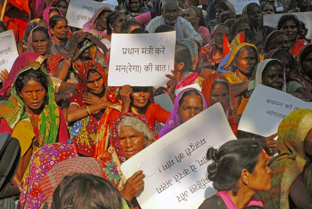 MGNREGA workers protest at Jantar Mantar in New Delhi.