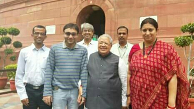 Rajarshi Lahiri, named by Santosh Kumar, as a key member of his team is seen with Union Minister Smriti Irani.