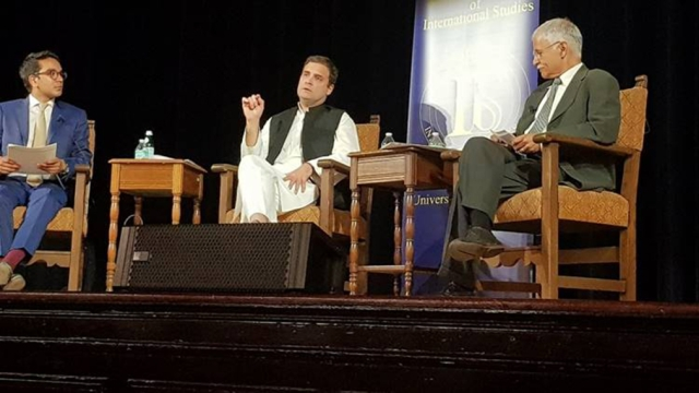 Congress vice-president Rahul Gandhi taking questions after his address at UC-Berkeley on Tuesday
