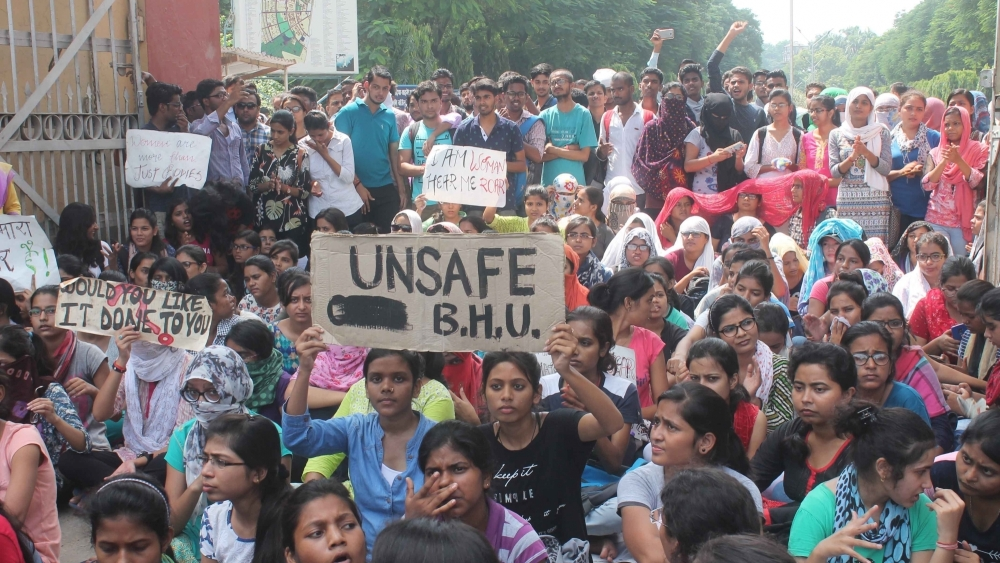 Students of Banaras Hindu University (BHU) stage a protest against the molestation of a student inside the campus in Varanasi