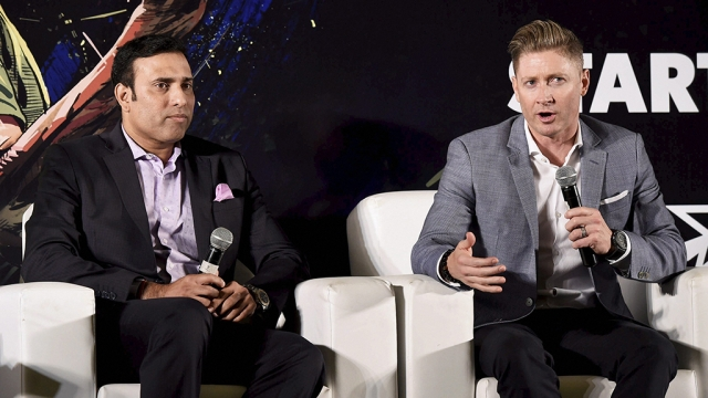 Former Indian cricketer VVS Laxman with former Australian cricketer Michael Clarke during a panel discussion on the upcoming India-Australia Series in New Delhi.