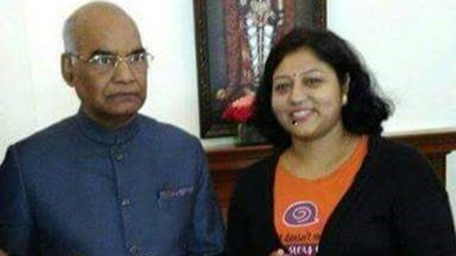 Sabita Chowdhary, also named by Santosh as a key member of his team, with President of India Ram Nath Kovind.
