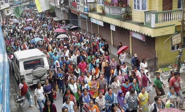 Gorkhaland supporters stage a rally in Darjeeling, West Bengal.