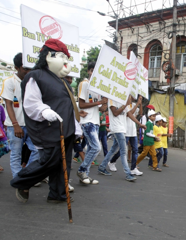 Children participate in an awareness rally on World Obesity Day in Kolkata