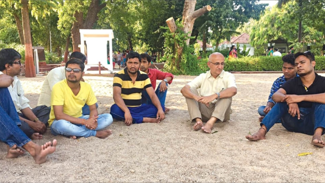 Harsh Mander (centre) as a part of the Karwan-e-Mohabbat journey paused at Sabarmati Ashram on October 1, in the memory of Mahatma Gandhi