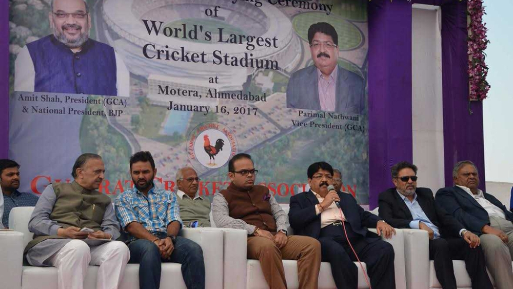Amit Shah's son Jay Amit Shah (third from left) with Parimal Nathwani (third from right) at the stone laying ceremony of a cricket stadium in Ahmadabad