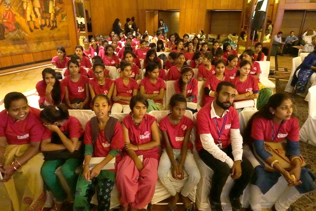 girls children at embassies equal gender programme on the international child day on wednesday in new delhi.