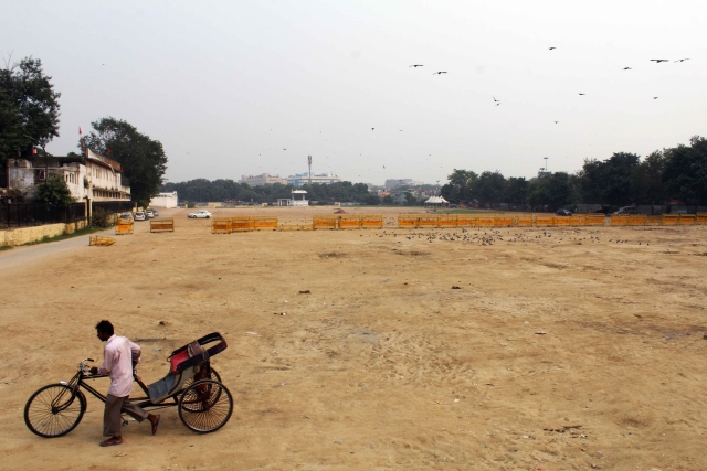 The new site for dharna and rallies  at Ram Leela Maidan in Delhi does not have sun sheds, toilets or drinking water.