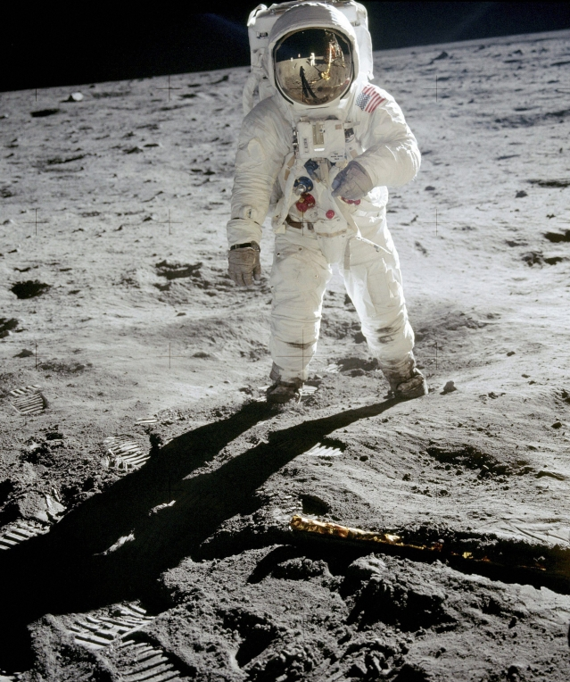 In this 1969 photo released by NASA, astronaut Buzz Aldrin walks on the surface of the moon. Astronaut Neil Armstrong was the photographer. From today, Skinner Auctioneers and Appraisers is selling more than 400 vintage photographs, including this one.