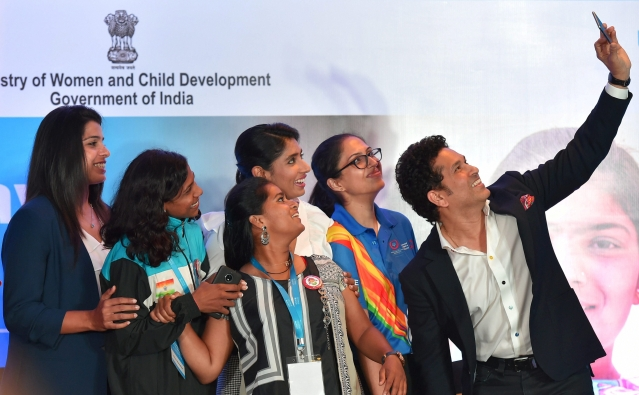 Cricket legend Sachin Tendulkar takes a selfie with cricketer Mithali Raj and other sportswomen after a panel discussion on 'The Role of Sports in the Empowerment of Girls' in New Delhi