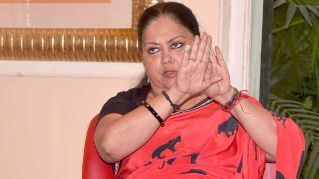 File photo of Rajasthan CM Vasundhara Raje
