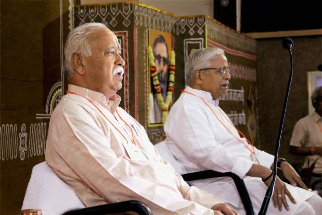 RSS chief Mohan Bhagwat with Sarkaryavah  Suresh Bhaiyyaji Joshi during the inauguration of three-day  RSS National Executive Meet in Bhopal.