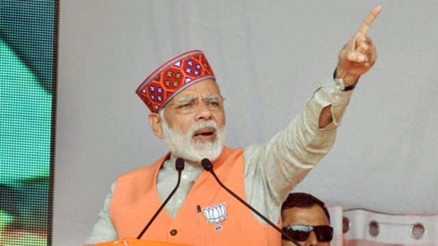 PM Modi addressing a rally in poll-bound Himachal Pradesh on Saturday