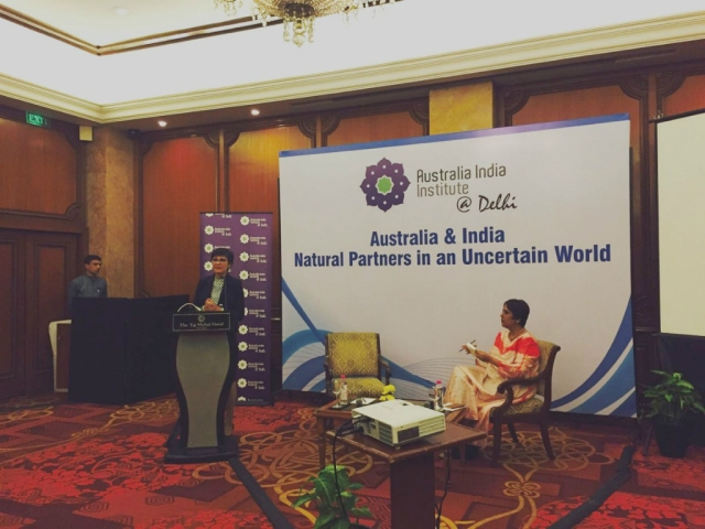 Australia's High Commissioner to India Harinder Sidhu delivers the Alfred Deakin Lecture in Delhi on Monday