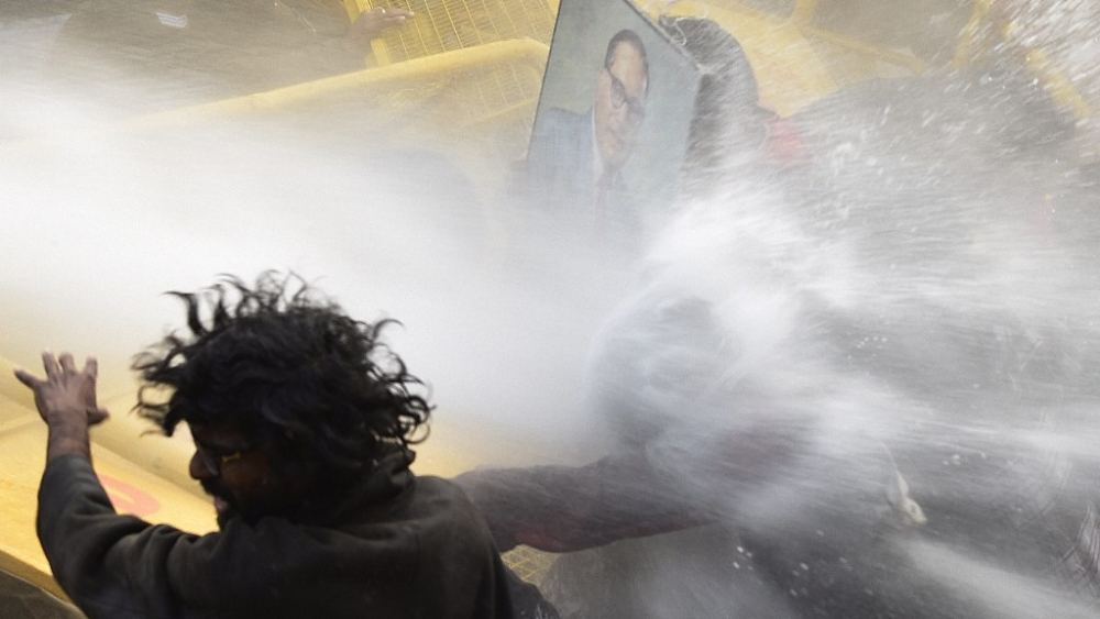 A representative image. Police use water cannons on the activists of various student organisations including KYS, SFI, AISA, SDPI and BAPSA during a protest outside HRD Ministry Office following the death of Rohith Vemula at Hyderabad Central University