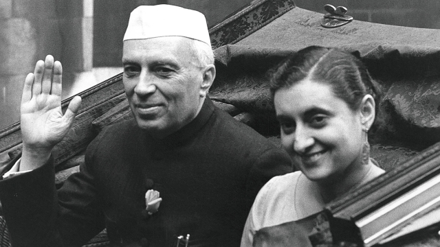 A file photograph of Pandit Jawaharlal Nehru and Indira Gandhi.