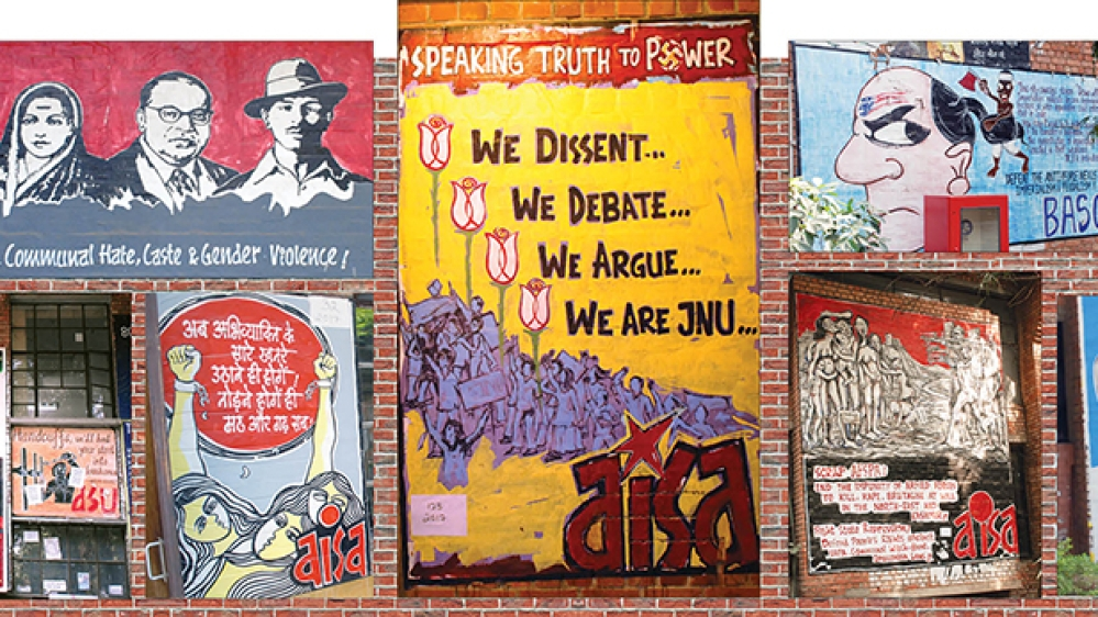 JNU is known for hand-painted posters.