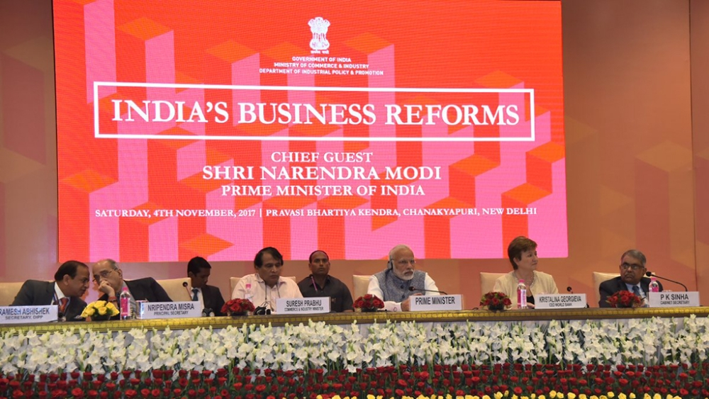 File photo of PM Modi attending a summit to mark India's improved ranking in Ease of Doing Business