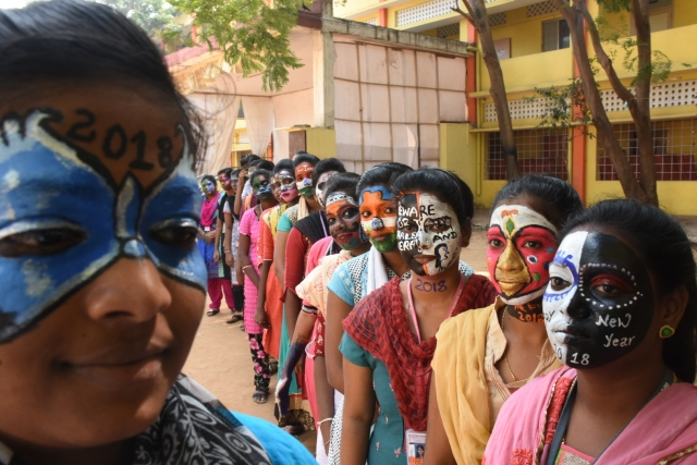 ians college students showcaseface painting on different themes ahead of new year in chennai