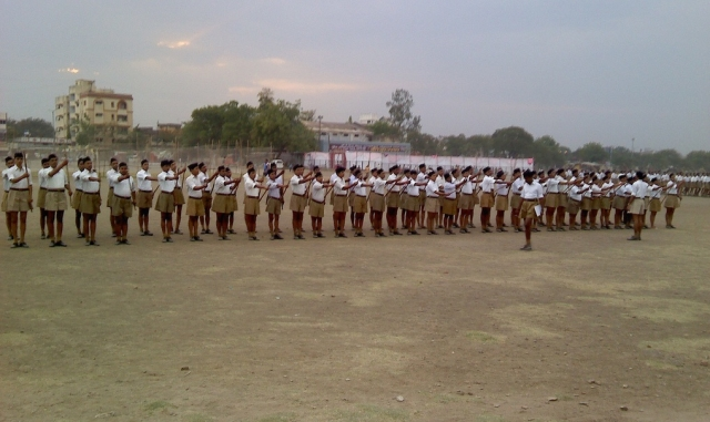 A file picture of RSS cadres participating in a drill.