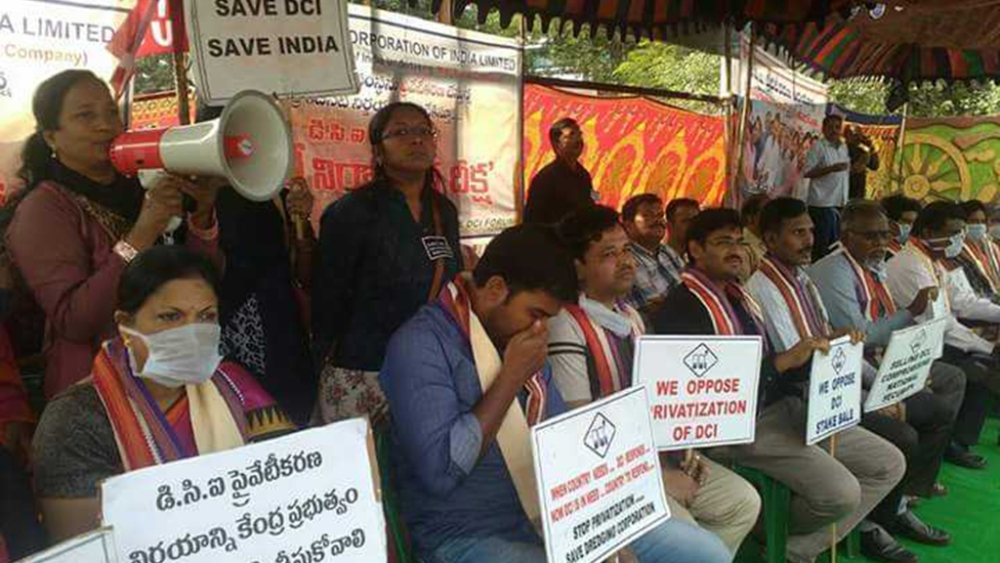 Employees of Dredging Corporation of India protesting against the privatisation