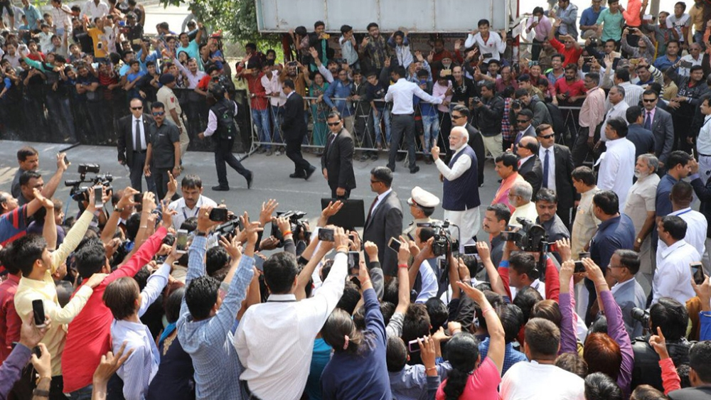 Prime Minister Narendra Modi after casting his vote on Thursday.