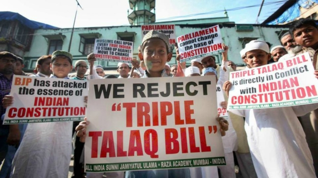 Muslims protesting the triple talaq bill in Mumbai last week (file photo)