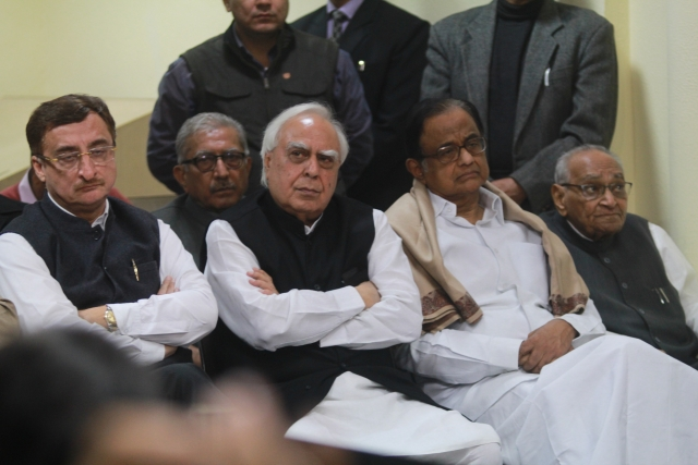 Senior Congress leaders (L-R) : Vivek Tankha, Kapil Sibal, P. Chidambaram and Motilal Vora.