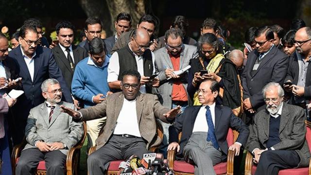 Supreme Court Judges (L-R) Kurien Joseph, Chelameswar, Ranjan Gogoi and Madan B Lokur