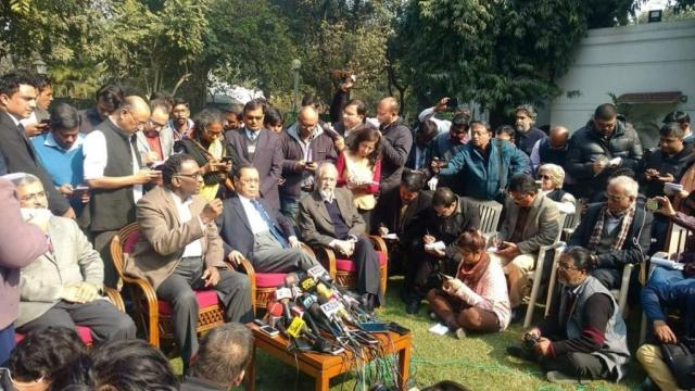 Supreme Court Judges Kurien Joseph, Chelameswar, Ranjan Gogoi and Madan B Lokur