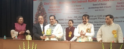 Indresh Kumar, member of RSS' National Executive, at the United Christmas & New Year Celebrations held on<b> </b>January 9, 2018, at the NDMC Convention Centre, organised by the National Council of YMCAs