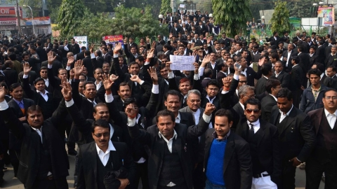 Uttar Pradesh: Lawyers boycott work after colleague booked under Gangsters Act