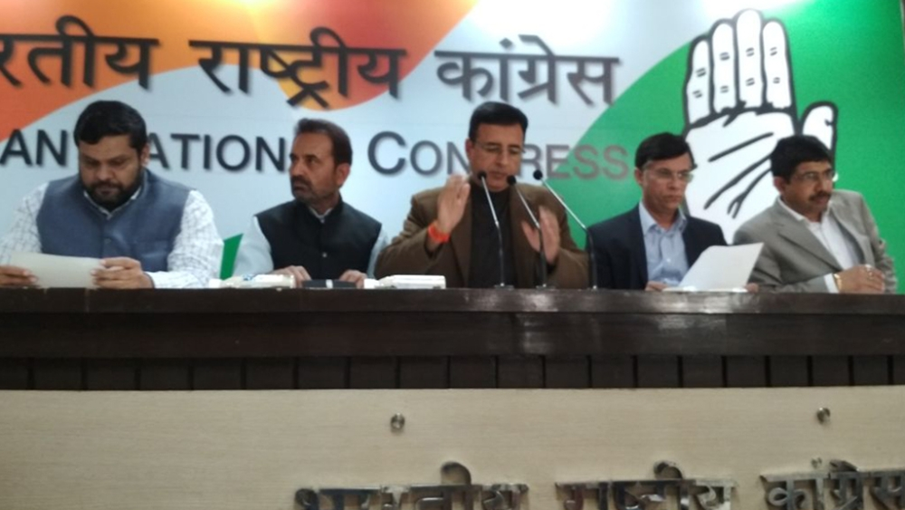 Congress spokesperson Randeep Surjewala adressing the media on February 16 at AICC Headquarters in Delhi