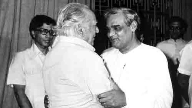 File photo of Faiz Ahmed Faiz (left) and Atal Bihari Vajpayee