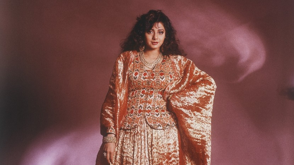 A portrait of Sridevi in 1990