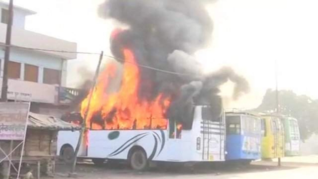 Buses set on fire during the sectarian violence in Kasganj following the death of Chandan Gupta on Jan 26 (file photo)